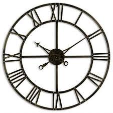 clocks large bronze brown round metal