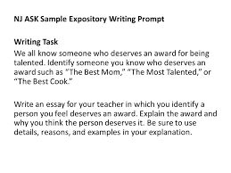 expository writing you have minutes to write ½ to pages on  7 nj