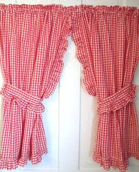 gingham country curtains red long length kitchen yellow