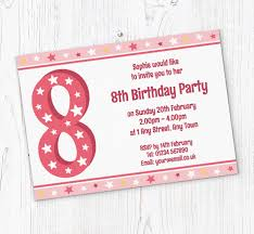 8th Birthday Party Invitations 8th Stars Birthday Party Invitations Customise Online Plus Free
