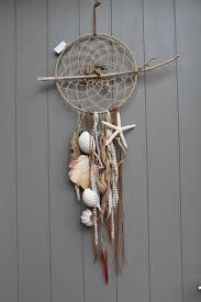 Attrape rves, dreamcatcher, mobile avec bois flott, perles, coquillages  toile de mer