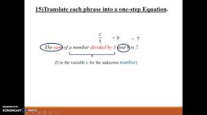 translate sentences into 2 step equations