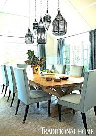 light fixture over dining table room