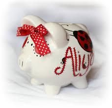 hand painted personalized piggy bank ladybug dragonfly
