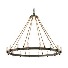 troy lighting marine style pendant light with rope accents and 16 lights in bronze f3127