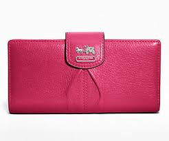 COACH Madison Leather Skinny Wallet Silver  Fuchsia