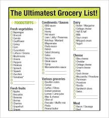 Grocery Checklist Free 9 Free Printable Grocery List Templates In Word