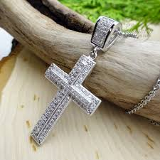cz lined raised center style stainless steel cross necklace