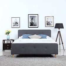Mid Century Modern Bedroom <b>Linen Fabric</b> Low Profile <b>Bed Frame</b> ...