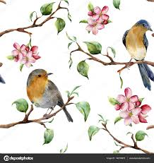 Fabric Painting Designs Of Birds Birds On A Tree Branch Painting Watercolor Pattern With