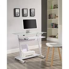 small white computer desk metal glass keyboard shelf bedroom kids school table
