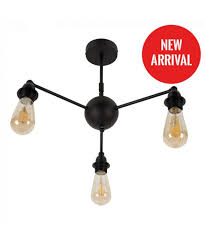parlour matt black 3 way steam punk ceiling light no shades