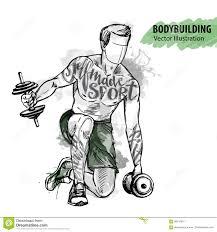 эскиз руки человека тренирует с гантелями иллюстрация спорта вектора