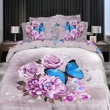 60 3d blue erfly surrounding purple flowers printed cotton 4 piece bedding sets