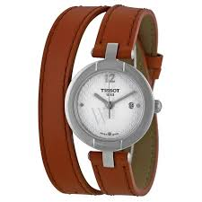 tissot t084 210 16 017 04 women s trend pinky light brown leather double wrap silver dial