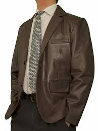 mens luxury leather blazer jacket 2 on brown