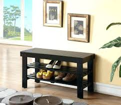Furniture Minimalist Wrought Iron Bench With Varnished Wooden Entry Hall Bench Coat Rack