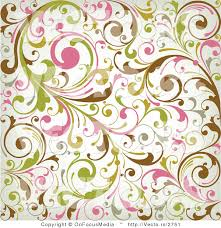 Vector of Green, Pink, Brown Leafy Vines Background Pattern Design