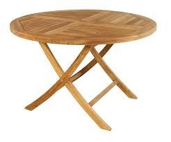 on teak round folding table