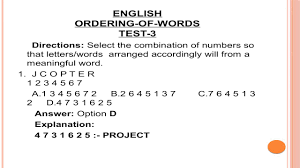 Word Test 3 Ordering Of Words Objective English For Competitive Exam Test 3