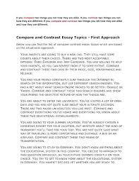 Example Of Comparison Essay Similarities Essay Example Comparison