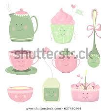 pink tea bag clip art.  Clip Cartoon Tea Set Cute Sweets Bag And Dishes With Smiling Faces Kids To Pink Tea Bag Clip Art E