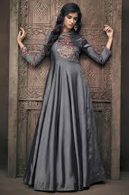 Satin Silk Dress Designs Function Wear Grey Designer Embroidered Readymade Gown In Satin Silk