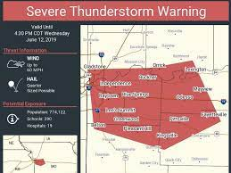 Severe thunderstorm warning in Missouri ...