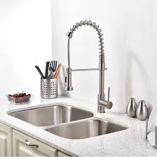 kitchen sink. Contemporary Sink Quilmes Brushed Nickel Kitchen Sink Faucet With Pull Down Sprayer Intended