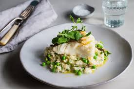 cod with pea and asparagus risotto