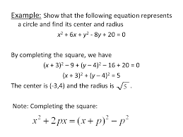 example show that the following equation represents a circle and find its center and radius