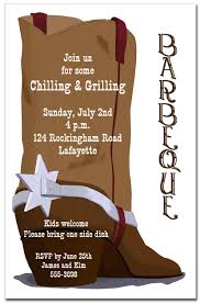Barbeque Invitation Brown Cowboy Boot Party Invitations Barbeque Invitations
