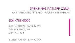 1285785592 NPI Number | IRENE MAI RATLIFF CRNA | PETERSBURG, VA ...