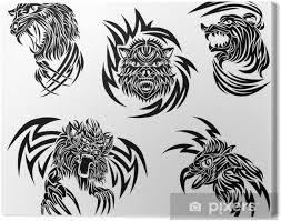 Obraz Volně žijící Zvířata Tetování Na Plátně