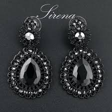 black chandelier earrings luxury dangle drop chandelier flower black big crystal rhinestone earrings whole prom jewelry
