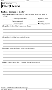 States Of Matter Worksheets For Middle School Composition Of ...