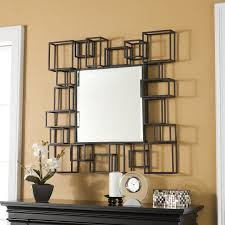 Wrought Iron Color Decorative Mirrors For Living Room Using Brown Color Wrought Iron