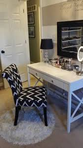hair and makeup vanity table. new chevron print vanity chair! hair and makeup table