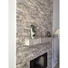 silver travertine stack stone wall cladding panel z pattern 2 beige cream gray white indoor outdoor