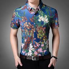 Pattern Shirts Best Ocean Blue In Floral Pattern Print Men Slim Fit Shirt FanFreakz
