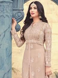 Front Open Salwar Designs Beige Color Designer Front Open Indian Ethnic Party Wear