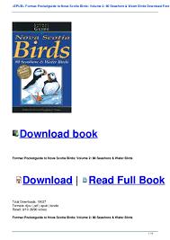 Epub Formac Pocketguide To Nova Scotia Birds Volume 2 80 Seashore