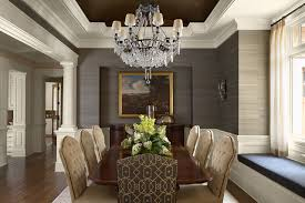 Traditional dark wood floor dining room idea in Minneapolis with gray walls
