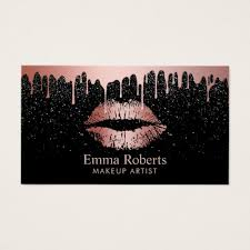 makeup artist rose gold lips trendy dripping business card