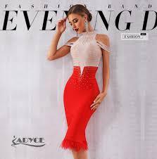 <b>Adyce 2019 New Summer</b> Bandage Dress Women Elegant Red Off ...