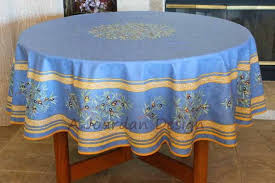 french provence petite olive blue acrylic coated round tablecloth french oilcloth indoor outdoor tablecloths matching napkins available