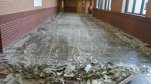 vinyl tiles are removed with a ride on machine to save time and money polishing concrete