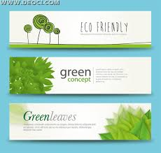 banner design template 3 free green leaves banner advertising background illustration