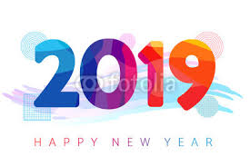 2019 Happy new year futuristic colored greeting card. 2019 New Year ...