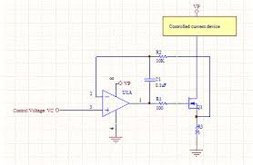 voltage controlled current source current servo the currents through r1 and r2 are essentially zero so we can neglect their voltage